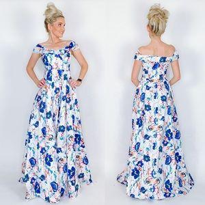 Long Floral Off Shoulder Prom Pageant Formal Dress